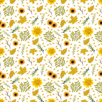 Floral seamless pattern with gorgeous yellow flowers