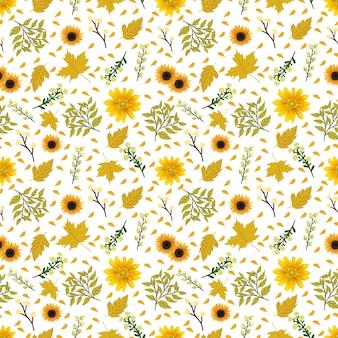 豪華な黄色の花のシームレス花柄 Premiumベクター