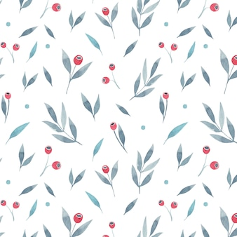 Floral seamless pattern with grey leaves and red berries on white background. vector illustration