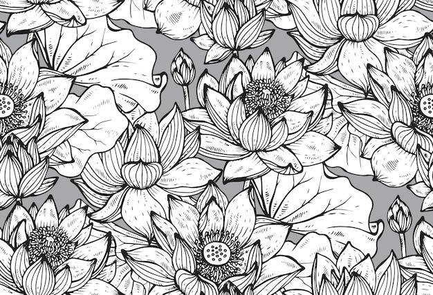 손으로 꽃 원활한 패턴 그린 로터스 꽃과 잎