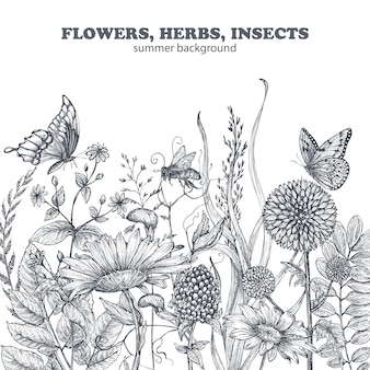 손으로 그린 양귀비 꽃과 잎이 있는 꽃무늬 매끄러운 패턴입니다. 스케치 스타일의 흑백 벡터 일러스트 레이 션.
