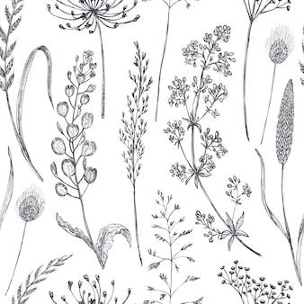 手描きのポピーの花と葉と花のシームレスなパターン。スケッチスタイルのモノクロのベクトル図。