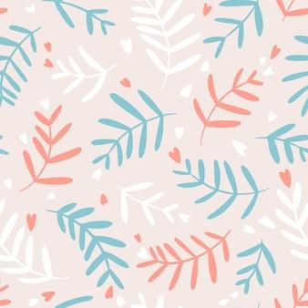 ベージュの背景にパステルカラーのハートと花のシームレスなパターン。手描きのシンプルな落書きイラスト。テキスタイル、壁紙、パッケージなどに最適です。