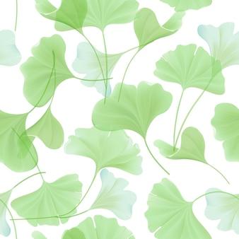 日本の銀杏のbilobaの葉、デザイン、ファブリックプリント、ベクトルの壁紙のヴィンテージパステルグリーンのテクスチャと花のシームレスなパターン