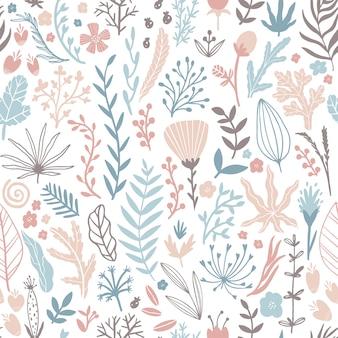 Цветочный фон с листьями и травами. нарисованная рукой линия иллюстрация эскиза в простом скандинавском стиле в ограниченном пастельном цвете.