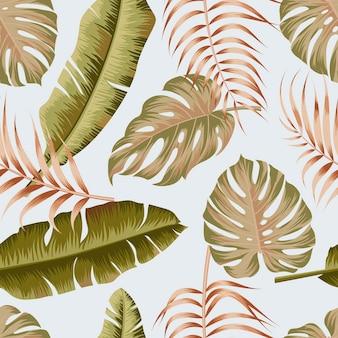 葉の金の輪郭の熱帯の背景を持つ花のシームレスなパターン