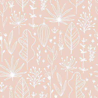 Floral seamless pattern with leaves and herbs. hand drawn sketch line illustration in simple scandinavian style in limited pastel color. ideal for printing onto fabric, textile, packaging, wallpaper