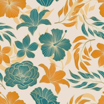 잎 열 대 배경 골드 개요와 꽃 원활한 패턴