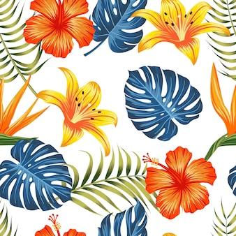 熱帯の背景の葉と花のシームレスなパターン