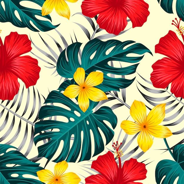 葉熱帯背景とシームレスな花柄