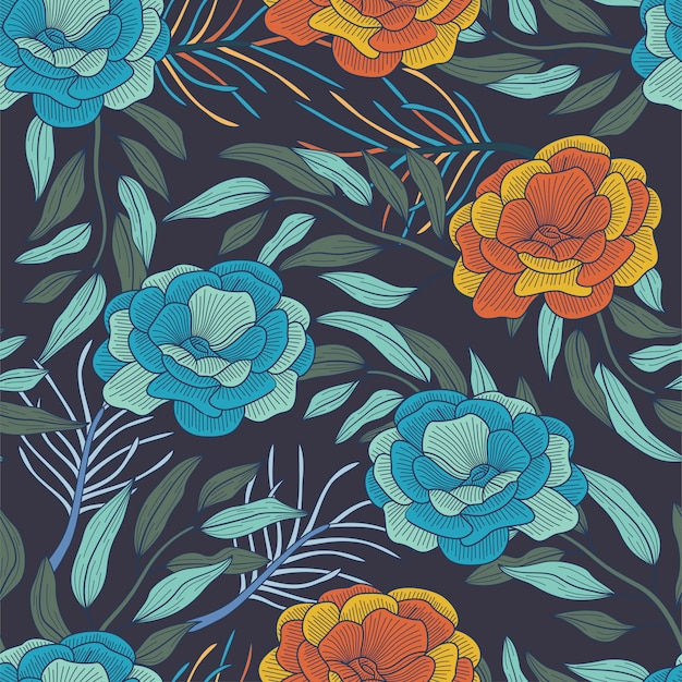 Floral seamless pattern with leaves, tropical background
