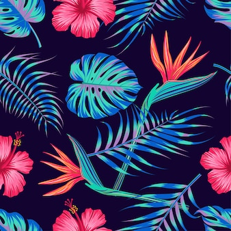 Floral seamless pattern with leaves. tropical design