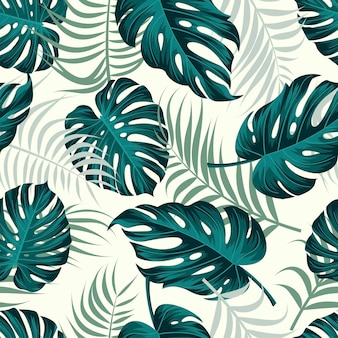 Floral seamless pattern with leaves tropical