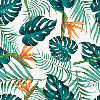 Цветочный бесшовный узор с листьями Premium векторы