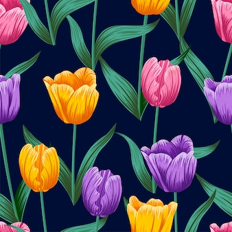Floral seamless pattern with leaves