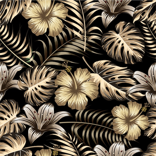 Floral seamless pattern with leaves.