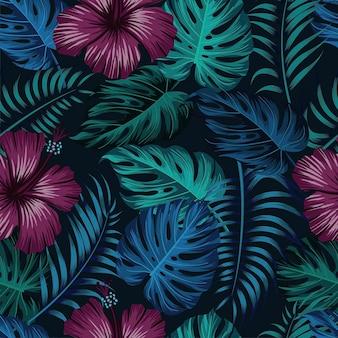 葉と花のシームレスなパターン。