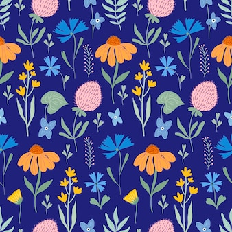 Floral seamless pattern with meadow flowers and plants