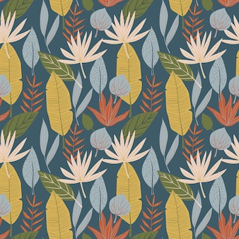 Floral seamless pattern with monstera, banana leaf, foliage