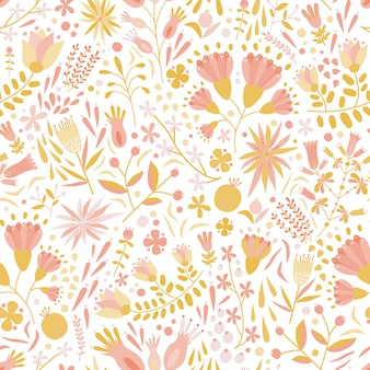 Floral seamless pattern with motley flowers and flowering plants on white background