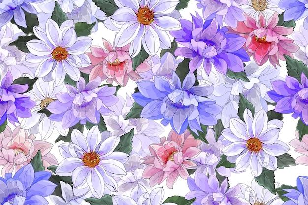マルチカラーの花ダリアと花のシームレスなパターン。