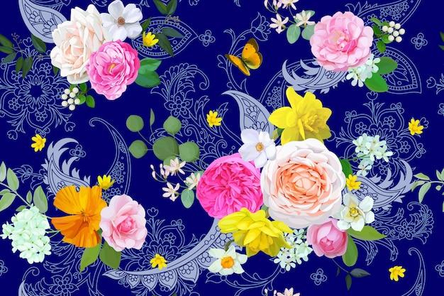 페이즐리와 꽃 원활한 패턴