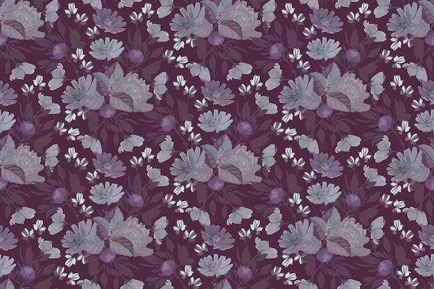 牡丹、チコリと花のシームレスなパターン。紫の花