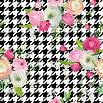 ピンクの花とドッグトゥースの飾りと花のシームレスなパターン。ファブリックテキスタイル、壁紙、包装紙および装飾のための植物の背景。ベクトルイラスト