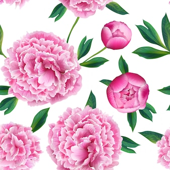 Floral seamless pattern with pink peony flowers