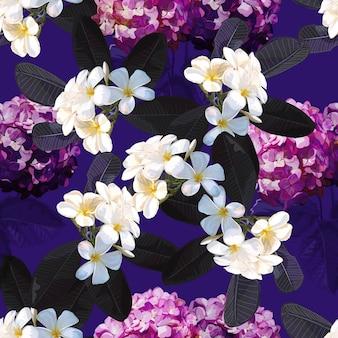 プルメリアの花とシームレスな花柄