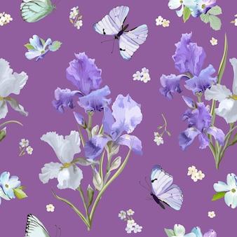 Цветочный фон с фиолетовыми цветущими цветами ириса и летающими бабочками