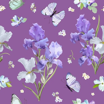 Floral seamless pattern with purple blooming iris flowers and flying butterflies