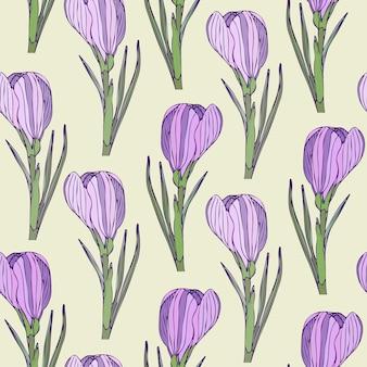 보라색 현실적인 꽃으로 꽃 원활한 패턴입니다. 포장 또는 섬유 디자인을위한 벡터 일러스트 레이션