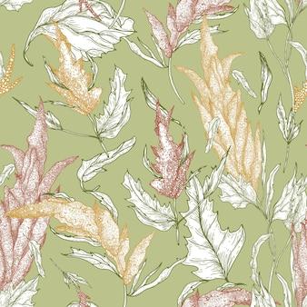 緑にカラフルな輪郭線で手描きキノア植物と花のシームレスなパターン
