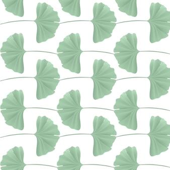 リアルな日本の銀杏の葉、デザイン、ファブリックプリント、ベクトルの壁紙のヴィンテージパステルグリーンのテクスチャと花のシームレスなパターン