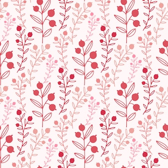 Floral seamless pattern with red branches