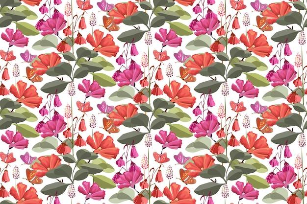 붉은 나비, 핑크색과 붉은 꽃, 녹색 잎 꽃 완벽 한 패턴입니다.