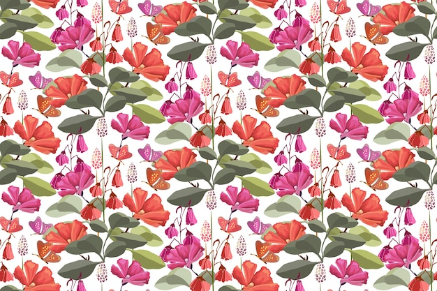 Floral seamless pattern with red butterflies, pink and red flowers, green leaves.