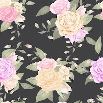 バラの花束とシームレスな花柄 Premiumベクター