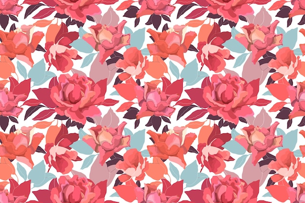 Floral seamless pattern with roses. delicate garden flowers and leaves in a warm color scheme on a white background.