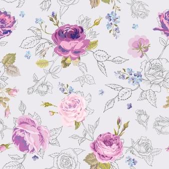 스케치 개요 스타일에 장미와 꽃 완벽 한 패턴입니다. 꽃 미완성된 손으로 그린 배경 직물, 인쇄, 포장지, 장식. 벡터 일러스트 레이 션