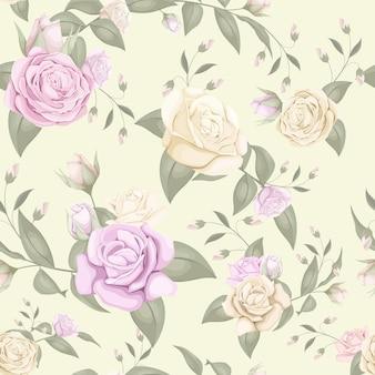 バラとシームレスな花柄