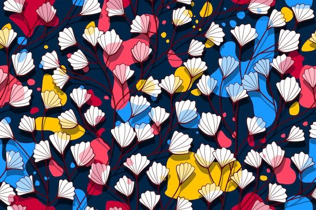 影と花のシームレスなパターン