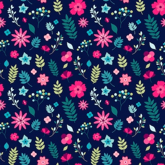 Floral seamless pattern with small flowers and leaves