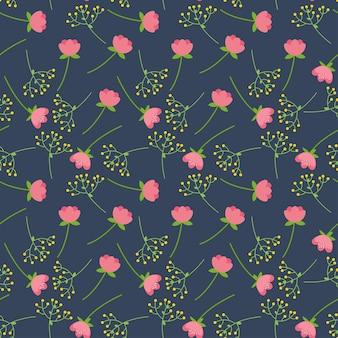 小さな花と花のシームレスなパターン。春。ファブリック、テキスタイル、壁紙のテンプレート。