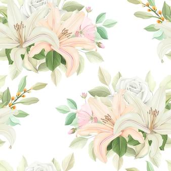 柔らかい色の花のシームレスなパターン