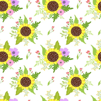 Floral seamless pattern with spring flowers.