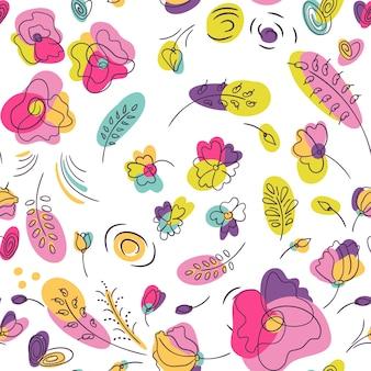 여름 꽃과 꽃 완벽 한 패턴입니다. 밝은 네온 색상의 꽃. 흰색 배경