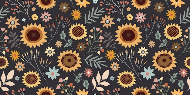 Floral seamless pattern with sunflowers and different plants