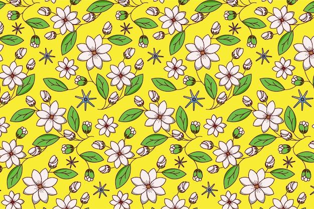 黄色の小さな白い花と緑の葉と花のシームレスなパターン